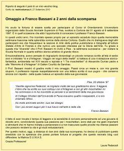 Omaggio a Franco Bassani